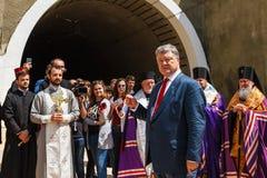 Ο Πρόεδρος Poroshenko ανοίγει τη νέα σήραγγα σιδηροδρόμων Carpathians Στοκ εικόνα με δικαίωμα ελεύθερης χρήσης