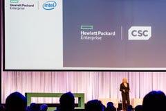 Ο Πρόεδρος και Διευθύνων Σύμβουλος Meg Whitman HPE μιλά για τη συγχώνευση CSC Στοκ Εικόνα