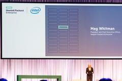 Ο Πρόεδρος και Διευθύνων Σύμβουλος Meg Whitman HPE παραδίδει μια ομιλία Στοκ εικόνες με δικαίωμα ελεύθερης χρήσης