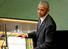 Ο Πρόεδρος των ΗΠΑ Barack Obama κρατά μια ομιλία, η Γενική Συνέλευση των Ηνωμένων Εθνών Στοκ Εικόνα