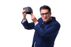 Ο πτωχεύσας έσπασε τον επιχειρηματία με το κενό πορτοφόλι στο άσπρο υπόβαθρο Στοκ Εικόνες