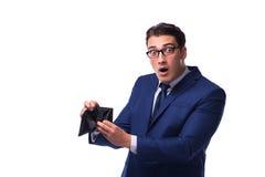 Ο πτωχεύσας έσπασε τον επιχειρηματία με το κενό πορτοφόλι στο άσπρο υπόβαθρο Στοκ φωτογραφίες με δικαίωμα ελεύθερης χρήσης