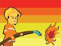 Ο πυροσβέστης εξερράγη το νερό με τον εξοπλισμό του εξαφάνισε την πυρκαγιά Στοκ Εικόνες