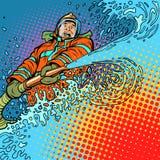 Ο πυροσβέστης σβήνει την πυρκαγιά με το νερό διανυσματική απεικόνιση