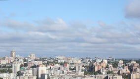 Ο πόλης ουρανός ηλιοβασιλέματος ανατολής χρονικού σφάλματος καλύπτει τα αεροσκάφη απόθεμα βίντεο