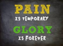 Ο πόνος είναι προσωρινός - η δόξα είναι για πάντα διανυσματική απεικόνιση