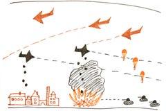 Ο πόλεμος - childs σχέδιο Στοκ εικόνα με δικαίωμα ελεύθερης χρήσης