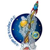 Ο πύραυλος ανεβαίνει στο υπόβαθρο της σφαίρας Έγχρωμη εικονογράφηση στο θέμα της εξερεύνησης του διαστήματος Motivotsionny διανυσματική απεικόνιση