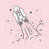 Ο πύραυλος και τα αστέρια σχεδιάζουν τη διανυσματική απεικόνιση ελεύθερη απεικόνιση δικαιώματος