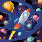Ο πύραυλος με τη φλόγα και οι πλανήτες σχεδιάζουν τη διανυσματική απεικόνιση ελεύθερη απεικόνιση δικαιώματος