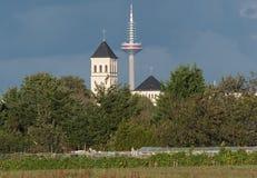 Ο πύργος επικοινωνίας, πύργος της Ευρώπης ή Europaturm στη Φρανκφούρτη, Γερμανία στοκ εικόνες με δικαίωμα ελεύθερης χρήσης