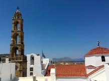 Ο πύργος κουδουνιών στην πόλη lindos στοκ φωτογραφία