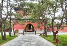 Ο πύργος κουδουνιών στο παλάτι της αποχής, ναός του ουρανού, Πεκίνο, Κίνα στοκ εικόνα
