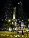 Ο πύργος νερού του Σικάγου τη νύχτα Στοκ Φωτογραφίες
