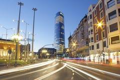 Ο πύργος Iberdrola στο ηλιοβασίλεμα στοκ εικόνες με δικαίωμα ελεύθερης χρήσης