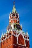 Ο πύργος Spasskaya στην κόκκινη πλατεία στη Μόσχα, Ρωσία Στοκ Φωτογραφίες