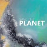 ο πλανήτης σώζει επάνω από την όψη Υπερρεαλιστική λίμνη Στοκ Εικόνες