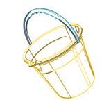 Ο πλαστικός κάδος στο λευκό, περιγράφει τον κλασσικό μπλε κίτρινο πορτοκαλή κάδο διανυσματική απεικόνιση