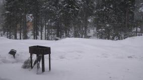Ο ριγμένος ορειχαλκουργός, bbq κοστίζει την άνοιξη το δασικό ελαφριά μειωμένο χιόνι μια χειμερινή ημέρα κίνηση αργή 3840x2160 απόθεμα βίντεο
