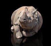 Ο ρινόκερος είναι απομονωμένος στο Μαύρο στοκ εικόνα με δικαίωμα ελεύθερης χρήσης