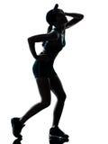 Ο δρομέας γυναικών jogger κούρασε τη με κομμένη την ανάσα σκιαγραφία στοκ εικόνα