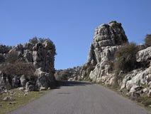 Ο δρόμος από Antequera στο φυσικό πάρκο EL Torcal Στοκ φωτογραφίες με δικαίωμα ελεύθερης χρήσης