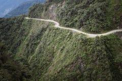 Ο δρόμος θανάτου - ο πιό επικίνδυνος δρόμος στον κόσμο, ο Βορράς Yungas στοκ εικόνες με δικαίωμα ελεύθερης χρήσης
