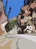 Ο δρόμος μεταξύ των απότομων βράχων Στοκ Εικόνες