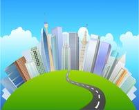 ο δρόμος στο αστικό κέντρο και βλέπει τις θέες της πράσινης χλόης απεικόνιση αποθεμάτων