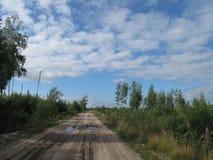 Ο δρόμος στο ξύλο και το μπλε ουρανό Στοκ φωτογραφίες με δικαίωμα ελεύθερης χρήσης