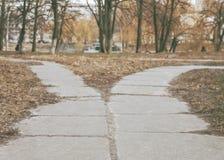 Ο δρόμος στο πάρκο αποκλίνει στις διαφορετικές κατευθύνσεις, ο δρόμος φ Στοκ φωτογραφίες με δικαίωμα ελεύθερης χρήσης