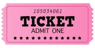 Ο ρόδινος κινηματογράφος αναδρομικός αναγνωρίζει ένα εισιτήριο Στοκ Εικόνα