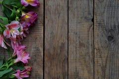 Ο ρόδινος κρίνος ανθίζει τα σύνορα Γενέθλια, ημέρα μητέρων ` s, ημέρα βαλεντίνων ` s, στις 8 Μαρτίου, γαμήλια κάρτα ή πρόσκληση δ Στοκ εικόνα με δικαίωμα ελεύθερης χρήσης