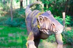 Ο σαρκοφάγος δεινόσαυρος με τα κίτρινα μάτια προετοιμάζεται να επιτεθεί ξαφνικά στο θήραμά του Γνώμη εξ ονόματος του θύματος Στοκ φωτογραφία με δικαίωμα ελεύθερης χρήσης