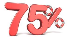 Ο σημαντήρας ζωής σημάδι 75 τοις εκατό τρισδιάστατο δίνει την απεικόνιση ελεύθερη απεικόνιση δικαιώματος