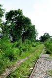 Ο σιδηρόδρομος ακολουθεί κοντά στον απότομο βράχο της ιστορίας από τον παγκόσμιο πόλεμο στοκ φωτογραφία