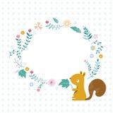 Ο σκίουρος και τα λουλούδια Στοκ φωτογραφία με δικαίωμα ελεύθερης χρήσης