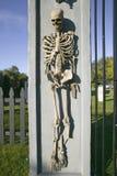 Ο σκελετός επιδεικνύεται μπροστά από το σπίτι για αποκριές στο Νιούπορτ, Ρόουντ Άιλαντ Στοκ Εικόνες