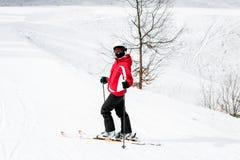 Ο σκιέρ κάνει σκι κάτω από την κλίση στα ξύλα Στοκ φωτογραφία με δικαίωμα ελεύθερης χρήσης
