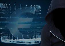 Ο σκούρο μπλε χάκερ αλτών με αντιμετωπίζει έξω foreground Υπολογιστής και υπόβαθρο ï ¿ ½ απεικόνιση αποθεμάτων