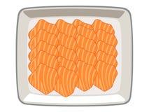 Ο σολομός τεμάχισε †‹â€ ‹â€ ‹σε ένα πιάτο σε ένα άσπρο υπόβαθρο ελεύθερη απεικόνιση δικαιώματος