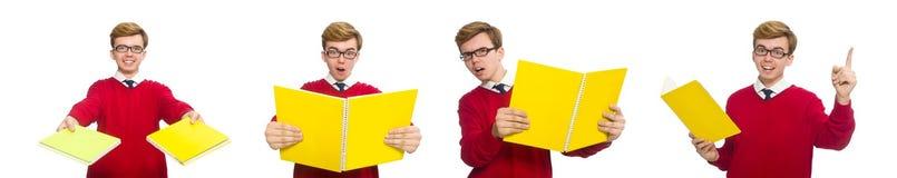 Ο σπουδαστής με το έγγραφο που απομονώνεται στο λευκό Στοκ φωτογραφία με δικαίωμα ελεύθερης χρήσης