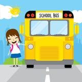 Ο σπουδαστής κοριτσιών πηγαίνει στο σχολείο με το σχολικό λεωφορείο στο διάνυσμα σχεδίου κινούμενων σχεδίων παιδιών πρωινού Στοκ εικόνα με δικαίωμα ελεύθερης χρήσης