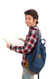 Ο σπουδαστής που απομονώνεται νέος στο λευκό Στοκ Εικόνα