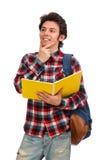 Ο σπουδαστής που απομονώνεται νέος στο λευκό Στοκ Εικόνες