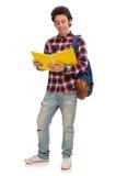 Ο σπουδαστής που απομονώνεται νέος στο λευκό στοκ φωτογραφίες