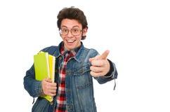Ο σπουδαστής που απομονώνεται νέος στο λευκό στοκ φωτογραφία