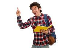 Ο σπουδαστής που απομονώνεται νέος στο λευκό στοκ φωτογραφία με δικαίωμα ελεύθερης χρήσης