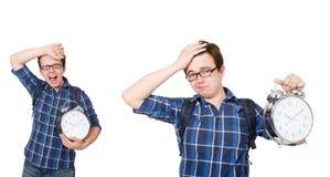 Ο σπουδαστής που χάνει τις προθεσμίες μελέτης του στο λευκό Στοκ Εικόνα