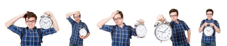 Ο σπουδαστής που χάνει τις προθεσμίες μελέτης του στο λευκό Στοκ Εικόνες